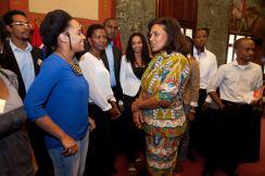 La ministra con los estudiantes